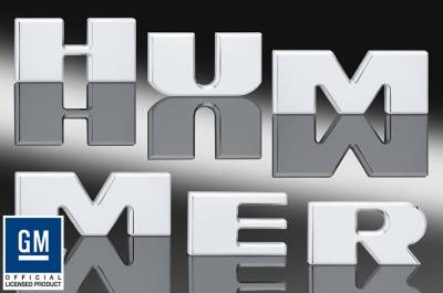 Accessories - Polished Bumper Inserts - Defenderworx - Hummer H2 Defenderworx Bumper Letter Inserts - Set of 6 - Chrome - H2PPC05026