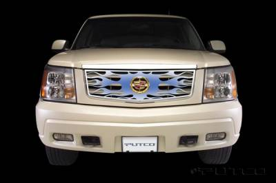 Grilles - Custom Fit Grilles - Putco - Cadillac Escalade Putco Flaming Inferno Stainless Steel Grille - Blue - 89415