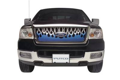Grilles - Custom Fit Grilles - Putco - Ford Excursion Putco Flaming Inferno Stainless Steel Grille - Blue - 89421