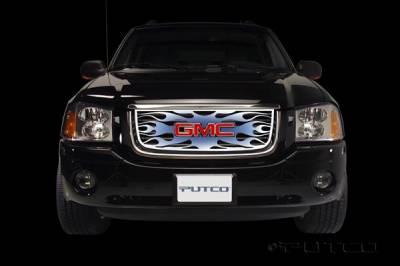 Grilles - Custom Fit Grilles - Putco - GMC Envoy Putco Flaming Inferno Stainless Steel Grille - Blue - 89436