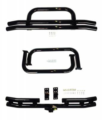 Grilles - Grille Guard - Omix - Rugged Ridge Tubular Bumper Nerf Bar Kit - Black Powdercoated - 11501-03