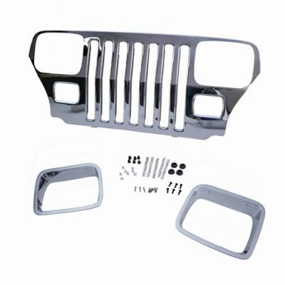 Grilles - Custom Fit Grilles - Omix - Omix Grille Cover - Chrome - Including Headlight Surrounds - Mounting Hardware - 12033-06