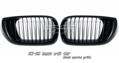 Grilles - Custom Fit Grilles - OptionRacing - BMW 3 Series 4DR Option Racing Sport Grille - Black - 64-12120