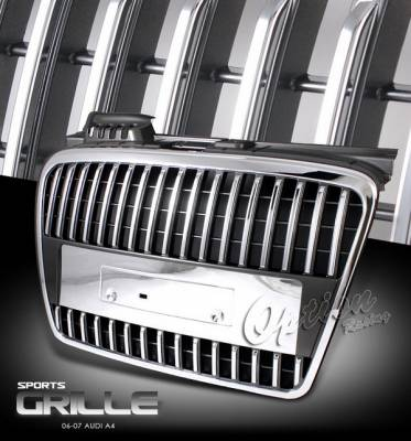 Grilles - Custom Fit Grilles - OptionRacing - Audi A4 Option Racing Chrome Grille - Chrome - 1PC - 65-11259
