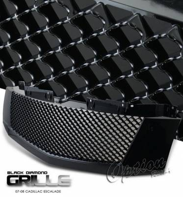 Grilles - Custom Fit Grilles - OptionRacing - Cadillac Escalade Option Racing Black Grille - Diamond Style - Black - 65-14260