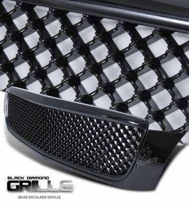 Grilles - Custom Fit Grilles - OptionRacing - Cadillac DeVille Option Racing Black Grille - Diamond Style - Black - 65-14262