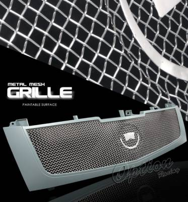 Grilles - Custom Fit Grilles - OptionRacing - Cadillac Escalade Option Racing Chrome Grille - Stainless Steel Mesh - Grey - 1PC - 65-14379