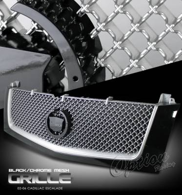 Grilles - Custom Fit Grilles - OptionRacing - Cadillac Escalade Option Racing Chrome Grille - Diamond - Silver - Primed - 1PC - 65-15252