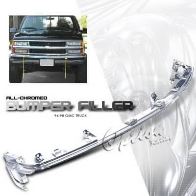 Grilles - Custom Fit Grilles - OptionRacing - Chevrolet C10 Option Racing Chrome Grille - Upper Bumper Filler - Chrome - 1PC - 65-15330