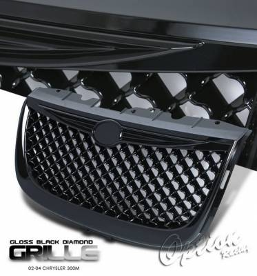 Grilles - Custom Fit Grilles - OptionRacing - Chrysler 300 Option Racing Black Grille - Diamond Style - Black - 65-16277