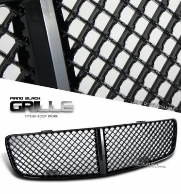 Grilles - Custom Fit Grilles - OptionRacing - Dodge Charger Option Racing Black Grille - Diamond Style - Black - 65-17144