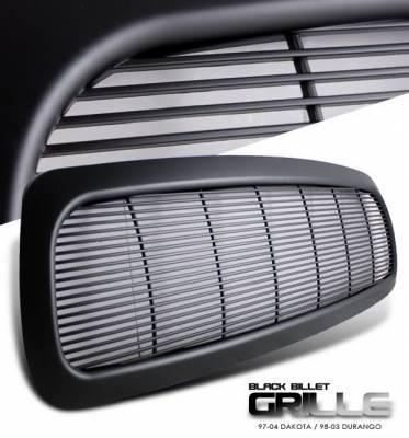 Grilles - Custom Fit Grilles - OptionRacing - Dodge Dakota Option Racing Grille - Billet Style - Black - 1PC - 65-17246