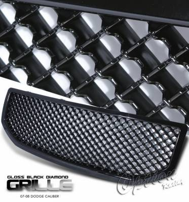 Grilles - Custom Fit Grilles - OptionRacing - Dodge Caliber Option Racing Black Grille - Diamond Style - Black - 65-17272