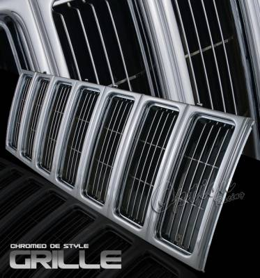 Grilles - Custom Fit Grilles - OptionRacing - Jeep Cherokee Option Racing Chrome Grille - OEM Style - 65-26338