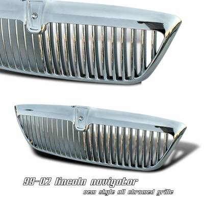 Grilles - Custom Fit Grilles - OptionRacing - Lincoln Navigator Option Racing OEM Grille - 65-30210