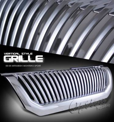 Grilles - Custom Fit Grilles - OptionRacing - Mitsubishi Montero Option Racing Chrome Grille - Vertical Style - Chrome - 1PC - 65-35255