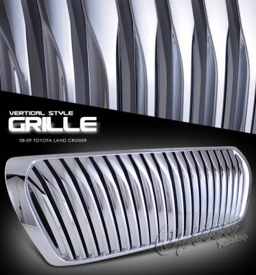 Grilles - Custom Fit Grilles - OptionRacing - Toyota Land Cruiser Option Racing Chrome Grille - Vertical Style - Chrome - 1PC - 65-44253