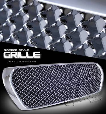 Grilles - Custom Fit Grilles - OptionRacing - Toyota Land Cruiser Option Racing Chrome Grille - Diamond Style - Chrome - 1PC - 65-44254