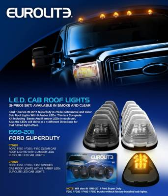Headlights & Tail Lights - Roof Lights - Eurolite - Clear LED Cab Roof Lights - 076020