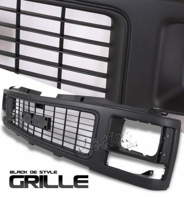 Grilles - Custom Fit Grilles - OptionRacing - GMC CK Truck Option Racing Black Grille - OEM Style - 80-15121