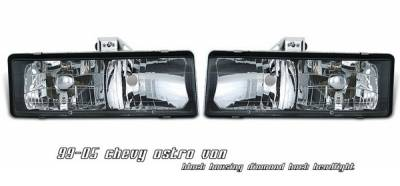 Headlights & Tail Lights - Headlights - OptionRacing - Chevrolet Astro Option Racing Headlights - Black - 10-15112
