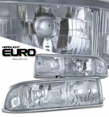 Headlights & Tail Lights - Headlights - OptionRacing - Chevrolet S10 Option Racing Headlights - Chrome - 10-15126