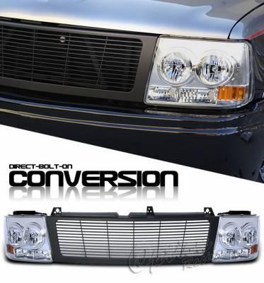 Headlights & Tail Lights - Headlights - OptionRacing - Chevrolet Silverado Option Racing Headlights - Black & Chrome - 10-15260