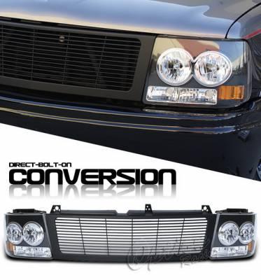 Headlights & Tail Lights - Headlights - OptionRacing - Chevrolet Silverado Option Racing Headlights - Black & Black - 10-15261