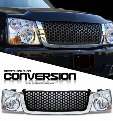 Headlights & Tail Lights - Headlights - OptionRacing - Chevrolet Silverado Option Racing Headlights - Chromed with Black Punch Hole Grille - 10-15265
