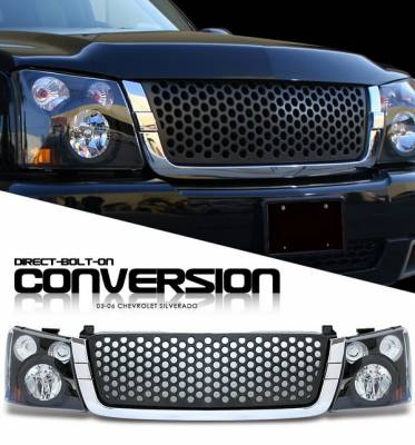 Headlights & Tail Lights - Headlights - OptionRacing - Chevrolet Silverado Option Racing Headlights - Black with Black Punch Hole Grille - 10-15270