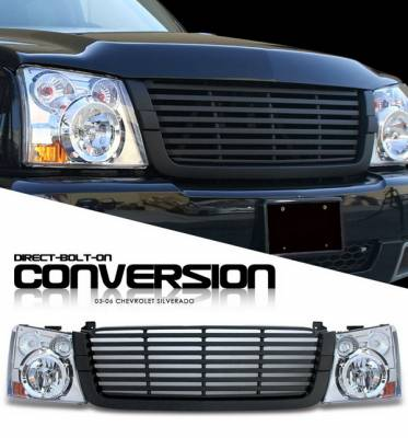 Headlights & Tail Lights - Headlights - OptionRacing - Chevrolet Silverado Option Racing Headlights - Chromed with All Black Billet Grille - 10-15274