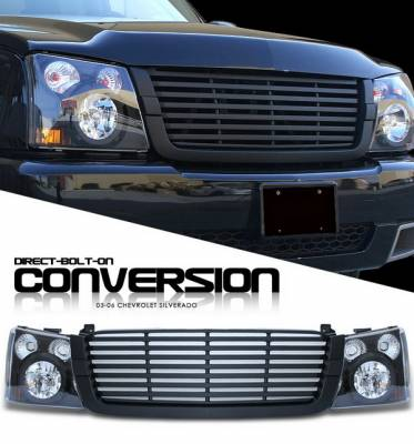 Headlights & Tail Lights - Headlights - OptionRacing - Chevrolet Silverado Option Racing Headlights - Black with All Black Billet Grille - 10-15276