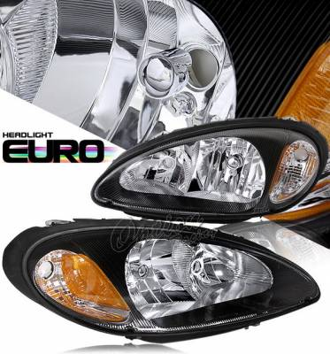 Headlights & Tail Lights - Headlights - OptionRacing - Chrysler PT Cruiser Option Racing Headlights - Black - 10-16289