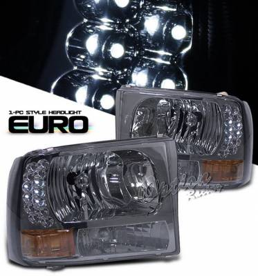 Headlights & Tail Lights - Headlights - OptionRacing - Ford F250 Option Racing Headlights - Smoke & Amber with LED - 1PC - 10-18272