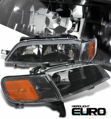 Headlights & Tail Lights - Headlights - OptionRacing - Honda Accord Option Racing Headlights with Corner - Black - 10-20278