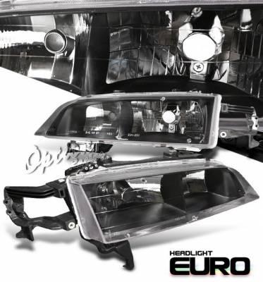 Headlights & Tail Lights - Headlights - OptionRacing - Honda Accord Option Racing Headlights - Black - 10-20311