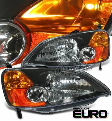 Headlights & Tail Lights - Headlights - OptionRacing - Honda Civic Option Racing Headlights - Black - 10-20313
