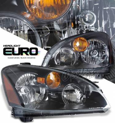 Headlights & Tail Lights - Headlights - OptionRacing - Nissan Altima Option Racing Headlights - Black - 10-36280