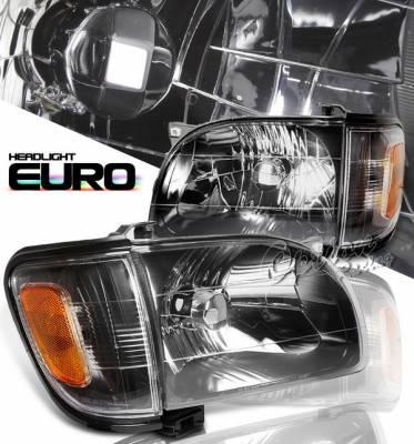 Headlights & Tail Lights - Headlights - OptionRacing - Toyota Tacoma Option Racing Headlights with Corner - Black - 10-44285