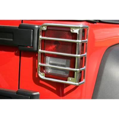 Headlights & Tail Lights - Tail Lights - Omix - Rugged Ridge Tail Light Guard - Stainless Steel - 11103-03