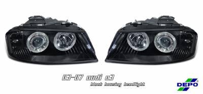 Headlights & Tail Lights - Headlights - OptionRacing - Audi A3 Option Racing Projector Headlight - 11-11105