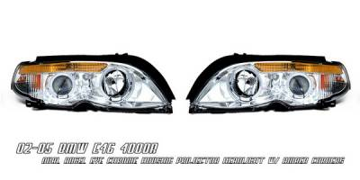 Headlights & Tail Lights - Headlights - OptionRacing - BMW 3 Series 4DR Option Racing Projector Headlights - Chrome & Amber with Halo - 11-12123