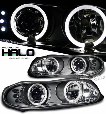 Headlights & Tail Lights - Headlights - OptionRacing - Chevrolet Camaro Option Racing Projector Headlights - Black - 11-15280