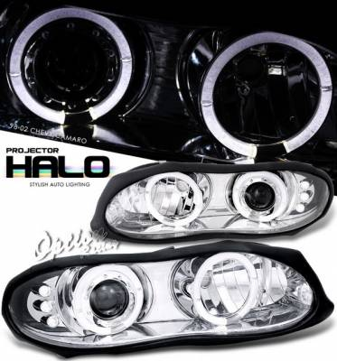Headlights & Tail Lights - Headlights - OptionRacing - Chevrolet Camaro Option Racing Projector Headlights - Chrome with Halo - 11-15281