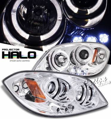 Headlights & Tail Lights - Headlights - OptionRacing - Chevrolet Cobalt Option Racing Projector Headlights - Chrome with Halo - 11-15283
