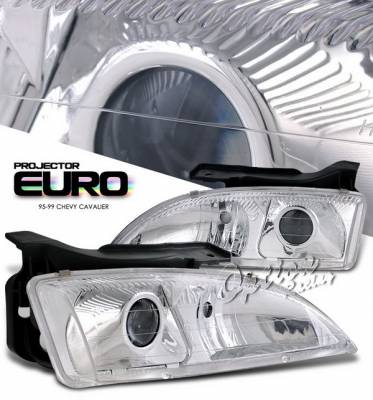 Headlights & Tail Lights - Headlights - OptionRacing - Chevrolet Cavalier Option Racing Projector Headlights - Chrome Housing with Corner - 11-15320