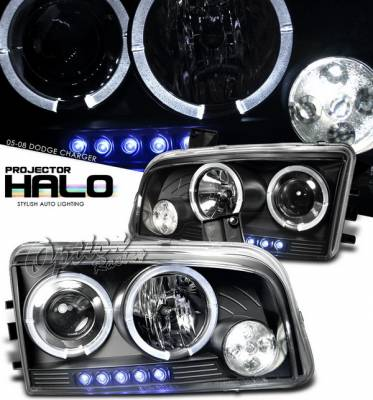 Headlights & Tail Lights - Headlights - OptionRacing - Dodge Charger Option Racing Projector Headlights - Black with Halo - 11-17286