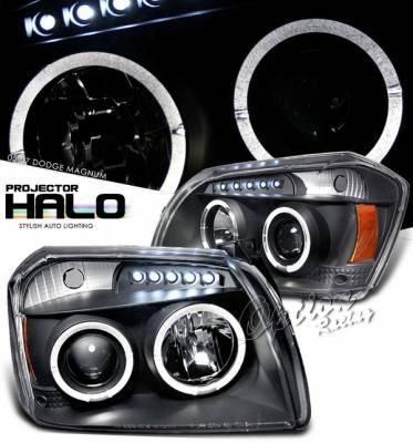 Headlights & Tail Lights - Headlights - OptionRacing - Dodge Magnum Option Racing Projector Headlights - Black with Halo - 11-17287