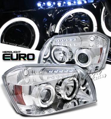 Headlights & Tail Lights - Headlights - OptionRacing - Dodge Magnum Option Racing Projector Headlights - Chrome with Halo - 11-17288