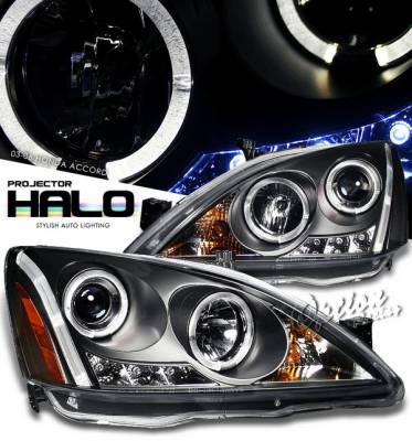 Headlights & Tail Lights - Headlights - OptionRacing - Honda Accord Option Racing Projector Headlights - Black with Halo - 11-20295